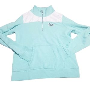 VS PINK Mint/White Half Zip Pullover